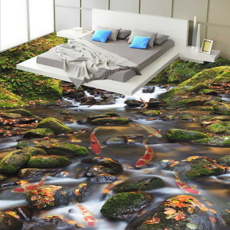Free Shipping Flowing water make money bathroom bedroom 3D floor non-slip living room shopping mall kitchen flooring mural free shipping ultra high definition water glass surface 3d floor non slip bedroom living room bathroom square flooring mural