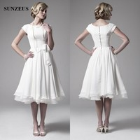 Best Selling 2017 Wedding Dresses Vintage 50s A Line Tea Length With Short Cap Sleeves Chiffon
