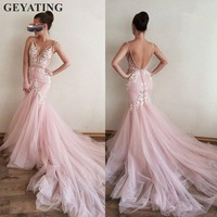 Sexy Backless Mermaid Pink Long Evening Dress 2019 Robe De Soiree Lace Appliques V neck Tulle Prom Dresses Formal Party Gowns