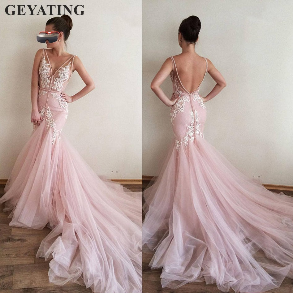 Sexy Backless Mermaid Pink Long   Evening     Dress   2019 Robe De Soiree Lace Appliques V-neck Tulle Prom   Dresses   Formal Party Gowns