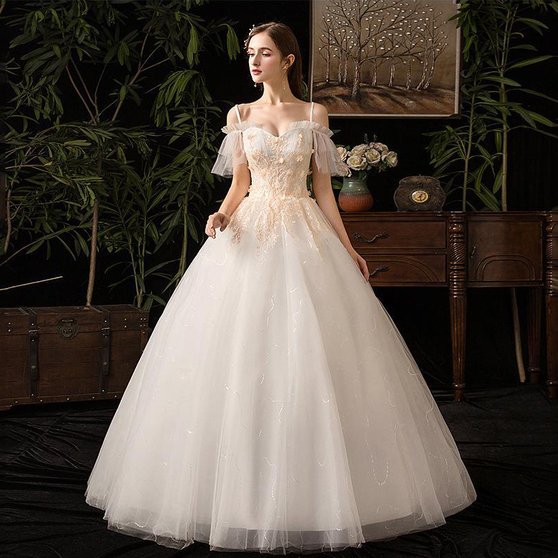 2019 New Sexy Boat Neck Spaghetti Straps Wedding Dress Lace Applique Lace Up Plus Size Slim Bridal Gown Vestido De Noiva L