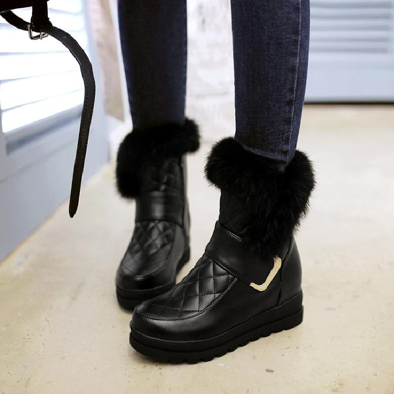 snow boots winter boots women ankle boots for women fashion ladies shoes feather black female flat shoes free shipping &886
