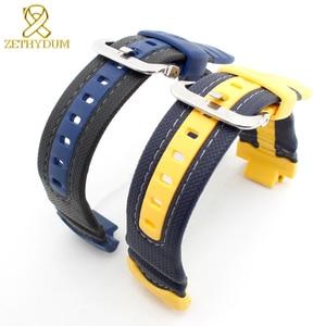 Image 3 - Bracelet en caoutchouc de silicone interface convexe bracelet de montre 16mm bracelet de montre en cuir véritable bord pour casio G 314RL 1A/G 315/bracelet de G 354