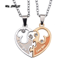 Wholesale 2015  I Love You Letters Heart Pendant New Couple Lovers Necklaces Fashion Women And Men Metal Chain Necklace Jewelry