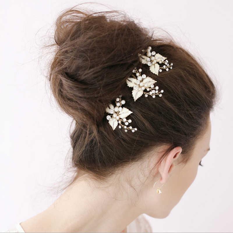2019 Western Wedding Fashion Headdress For Bride Handmade Wedding Crown Floral Pearl Hair Accessories Hairpin Ornaments