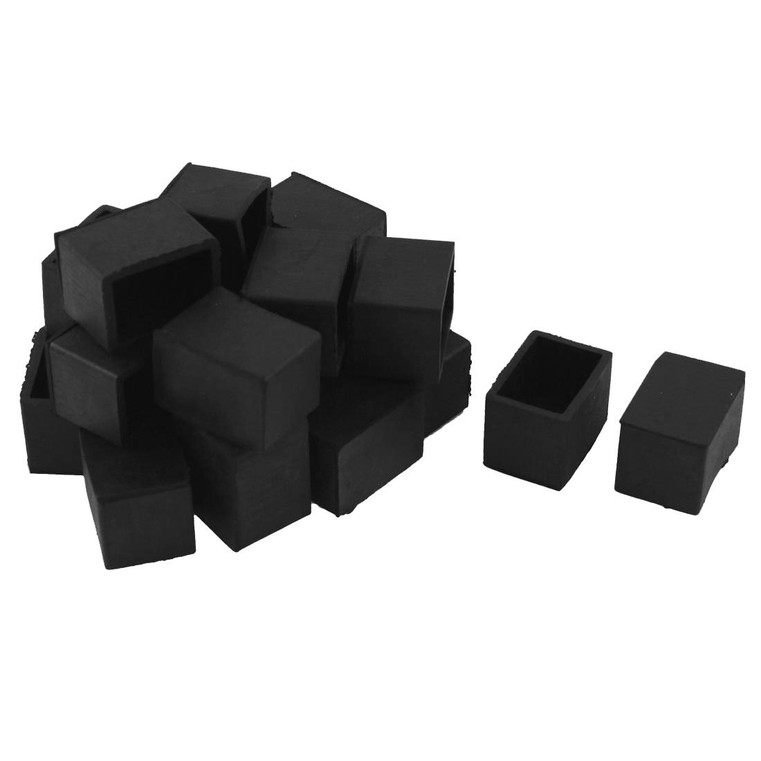 HOT GCZW-20 Pcs Furniture Table Leg Rubber Foot Covers 20mm X 30mm Black