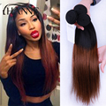 Indian Straight Ombre Hair 1B/#33 Dark Brown Ombre Human Hair 3pcs Two Tone Indian Remy Hair Weave Bundles HANNE Colorful Hair