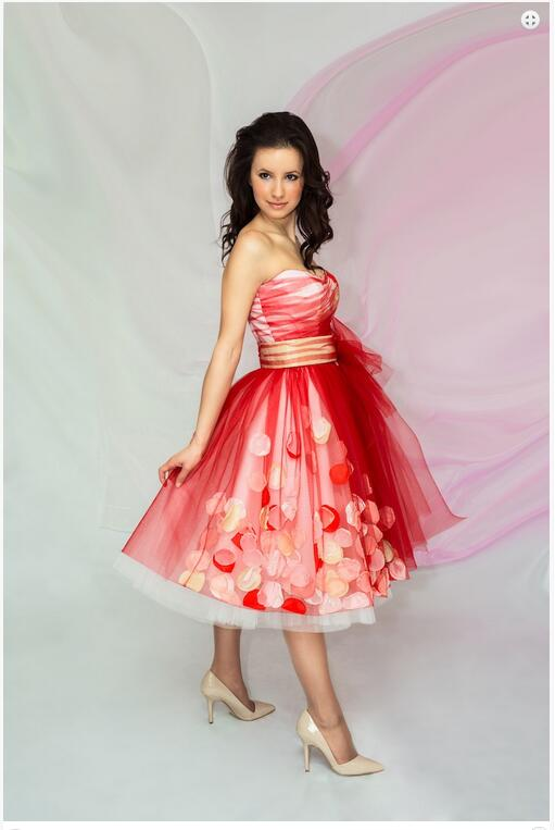 8e2020b40f8 Bat Mitzvah Dresses 2017 Red Short Prom Dresses with Rose Petal Tea Length Sweetheart  Tulle Pageant Dresses Party Dresses 951615