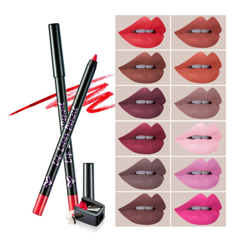 12pcs/Lot Lipstick Pen Color Beauty Red Lips Baton