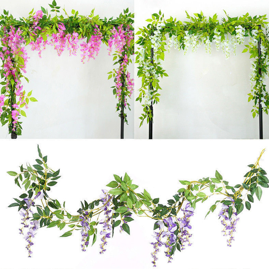 2M Wisteria Artificial Flowers Fake Plants For Wall And Indoor Decoration 4