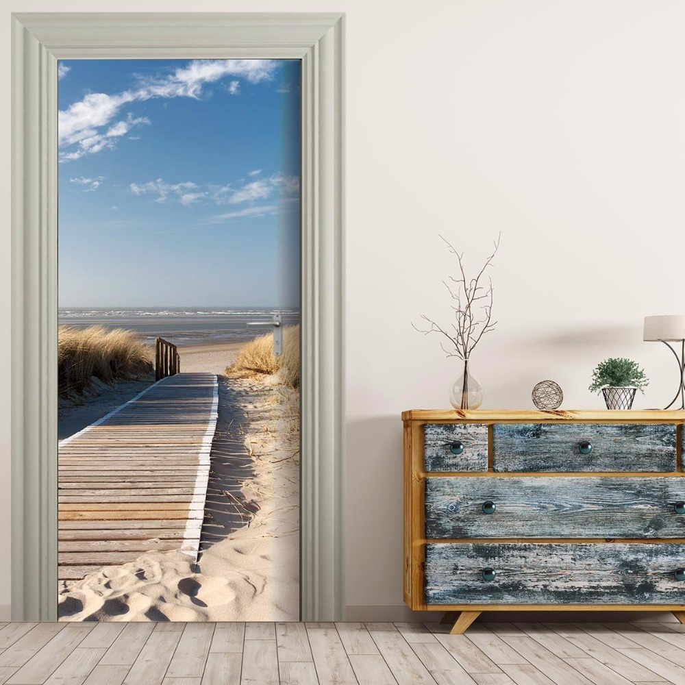 Free Shipping Home Decorators: Free Shipping 3D Wooden Lane To Sea Door Wall Stickers DIY