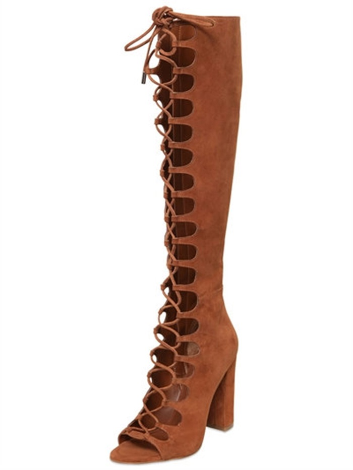 Concise Style Women Solid Brown Flock Leather Crossed Tied Knee-High Boots Autumn Peep Toe Hollow Out High Square Heel Booties punk style solid color hollow out ring for women