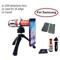 El más nuevo kit de lentes de la cámara 20x de zoom de teleobjetivo lente del telescopio para samsung galaxy S6 S7 borde Más nota 2 Cajas Del Teléfono 3 4 5 Trípode