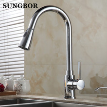 Chrome kitchen sink Swivel Deck Mounted Single Hole Faucets,Mixers & Taps with pull out shower head Free shipping CF-9120L