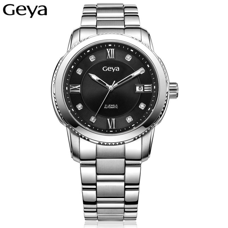 Geya Sport Watch Luxury Brands Mens Automatic Mechanical Movement Watch Sapphire Glass Stainless Steel Watch relogios masculino tophill switzerland movement luxury watch classic sapphire glass women quartz wrist watch 316 stainless steel case watch ab1866
