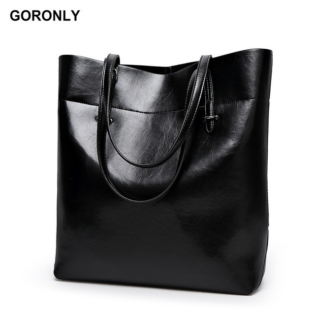 GORONLY Brand Classic Leather Tote Bag Women Simple Large Handbag Designer  Casual Bucket Shoulder Bags Fashion Ladies Purses 5bc0897fdd