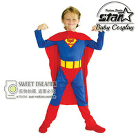 High Quality Halloween Children Superman Costume Boys Super Hero Clothing Cosplay Kid Party Costume Holiday Birthday