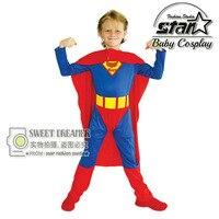High Quality Halloween Children Superman Costume Boys Super Hero Clothing Cosplay Kid Party Costume Holiday Birthday