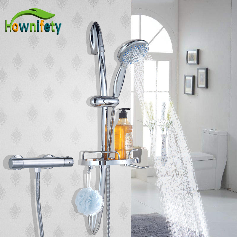 Chrome Dual Handles Thermostatic Valve Faucet Wall Mounted With ABS Handshower With rack lifter Tub Shower Mixer Bathroom Faucet traditional faucet chrome thermostatic bathroom faucets plastic handshower dual holes shower mixer tap