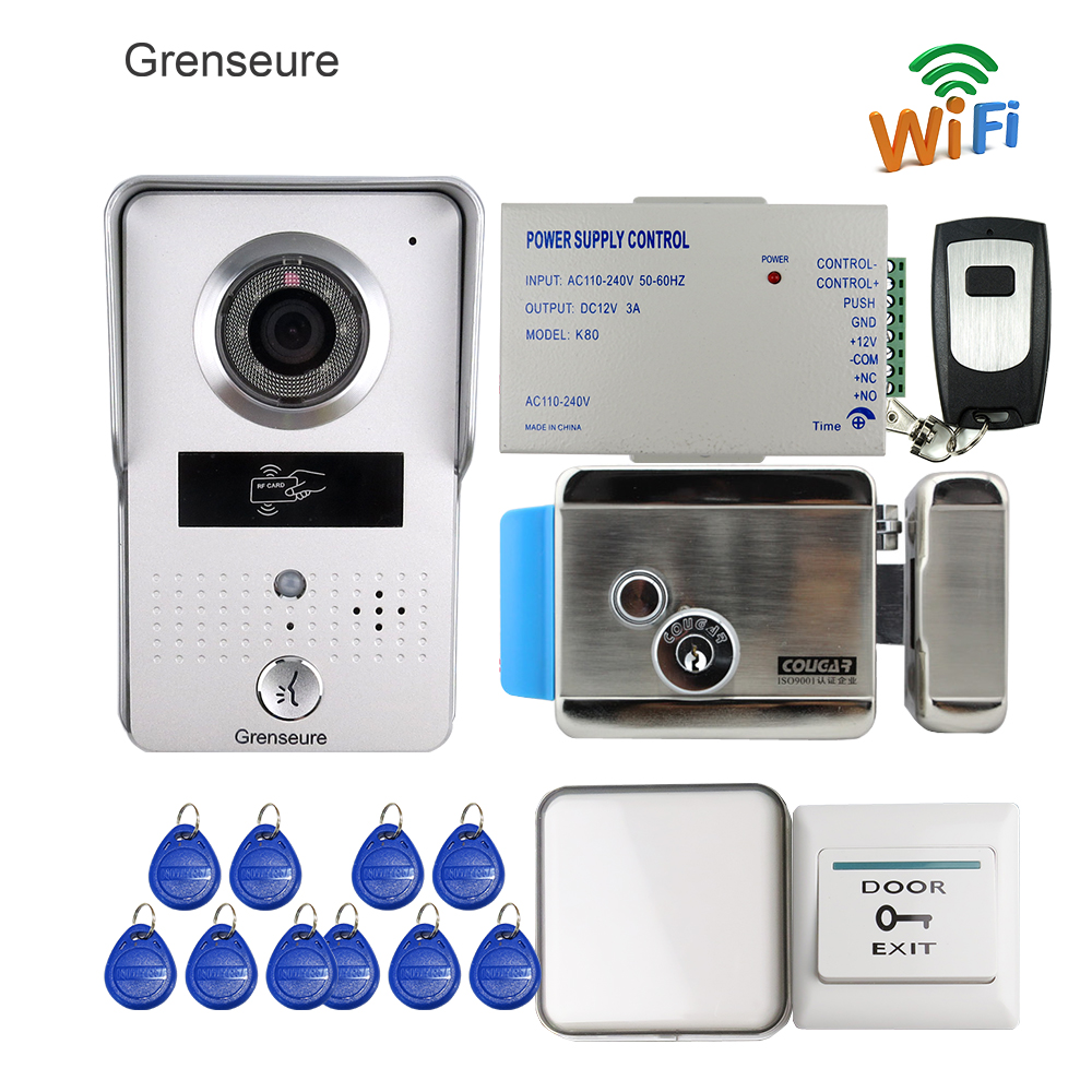 Free Shipping New Wireless WIFI Doorbell Camera RFID Video Intercom for Phone Record Video + Indoor Bell Electric Control Lock free shipping wireless wifi doorbell camera video intercom for phone remote view unlock rfid reader wireless bell 12v power