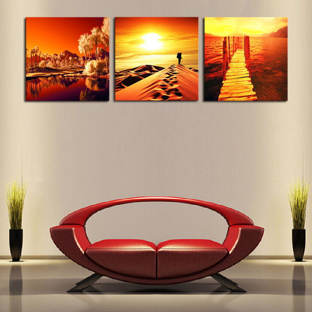 2017 Cheap Wall Frames 3 Panels Golden Scenery Picture Art Canvas ...