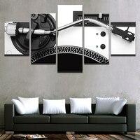 JIE FAZER ARTE Decoração Para Casa Tela HD de Impressão 5 Peça de Música Instrumento Consola DJ Mixer Pintura Sala Arte Da Parede Moldura de Cartaz