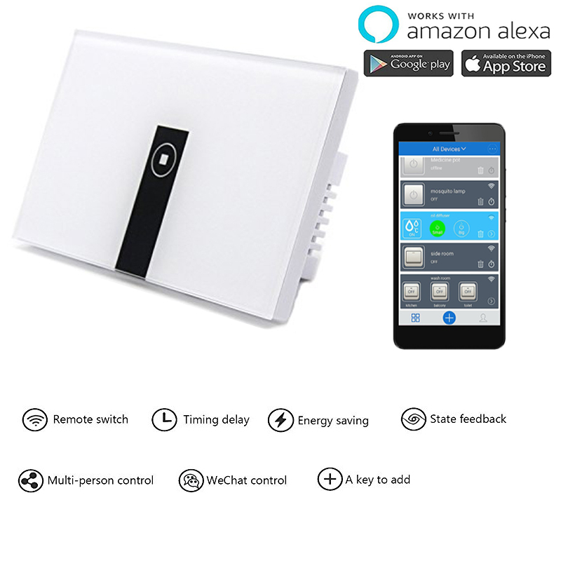 Work with Amazon Alexa  Smart Wi-Fi Switch Glass Panel 1gang 2gang 3gang US Touch Light wall Switch  90~250V Ewelink App control