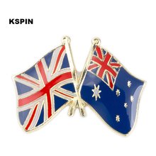UK Jack Australia Friendship Flag Badge Flag pin 100pcs a lot