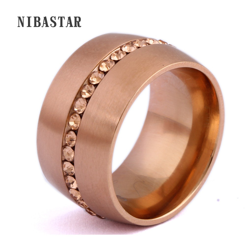 Classic 14mm Wide Steel Rings For Women Rose Gold Stainless Steel Plated with Pave Rose Crystal For Women ...