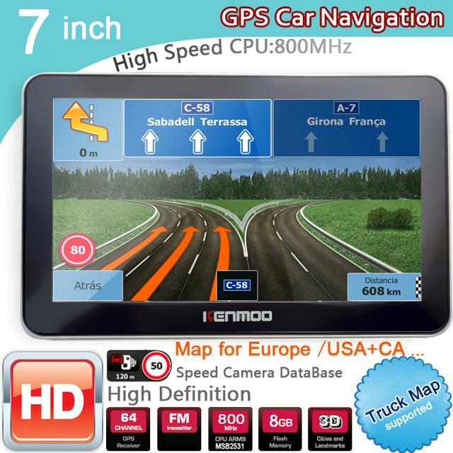 7 inch HD GPS Auto Navigation 800M/FM/8GB/DDR3 Bluetooth avin 2020 Karten Für russland/Belarus Europa/USA/Kanada LKW Camper Caravan