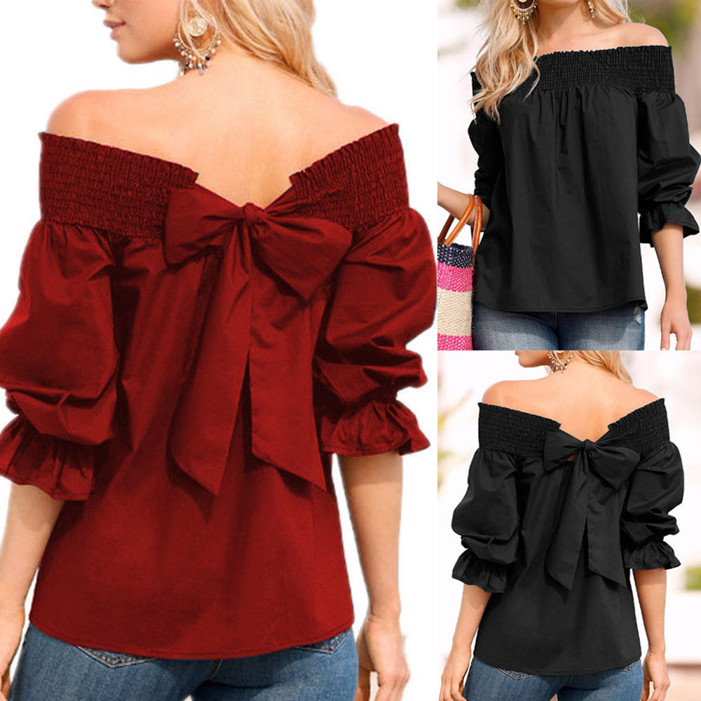 2019 Women's Summer  Fashion Off Shoulder  Top Puff Sleeve Bow Bandage Blouse Women Clothes