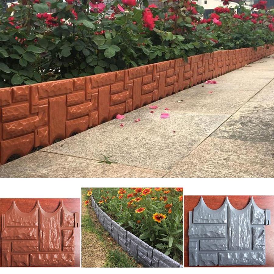 6PCS DIY Garden Brick Cement Fence Cement Stone Mold Garden Plastic Fence Concrete Flower Courtyard Lawn Mould Maker Garden Tool