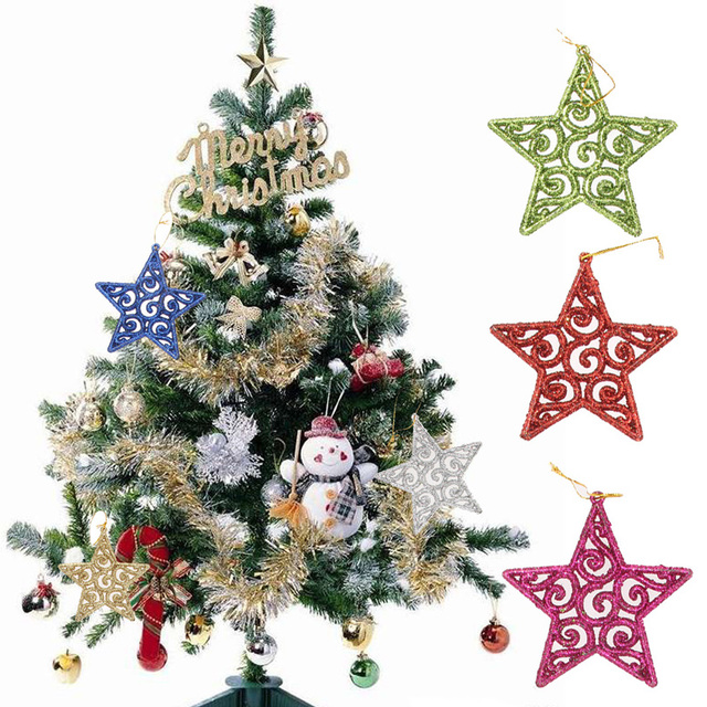 new design 6pcs five star shaped christmas tree decoration for christmas party 50