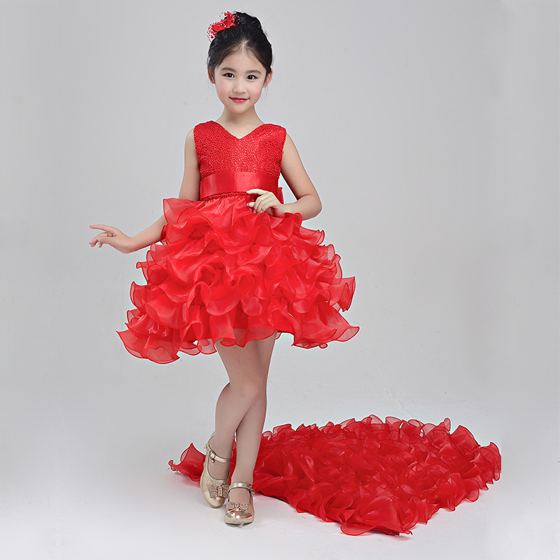 цены Shiny Girl asymmetric Princess Trailing Dresses Weddings Child Birthday Party tutu Girls Evening Costume Children Piano Perfor