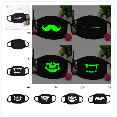1Pc Personality Mouth Mask Light In The Dark Anti Dust Keep Warm Cool Mask Cartoon Mouth Face Mask Emotiction Masque Kpop Masks