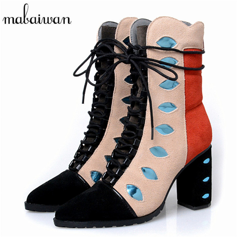 Mabaiwan Pointed Toe Women Ankle Boots Square Heel Short Booties Genuine Leather Lace Up Martin Botines Mujer Women Pumps