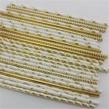 ipalmay Fast Shipping! 15000pcs Mix Pattern Paper Straws Gold Birthday Party Supplies Drinking Straws,Wedding Baby Shower Favor