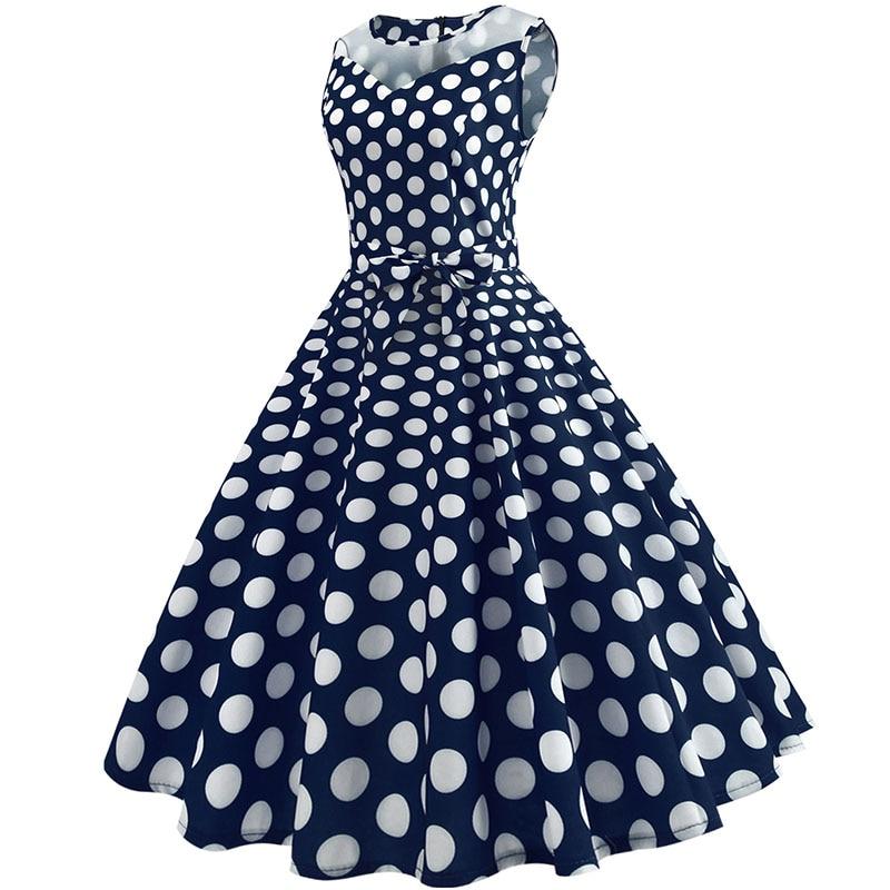 Retro letné párty šaty 1950 s bodkami Swing style (8 variánt) 26