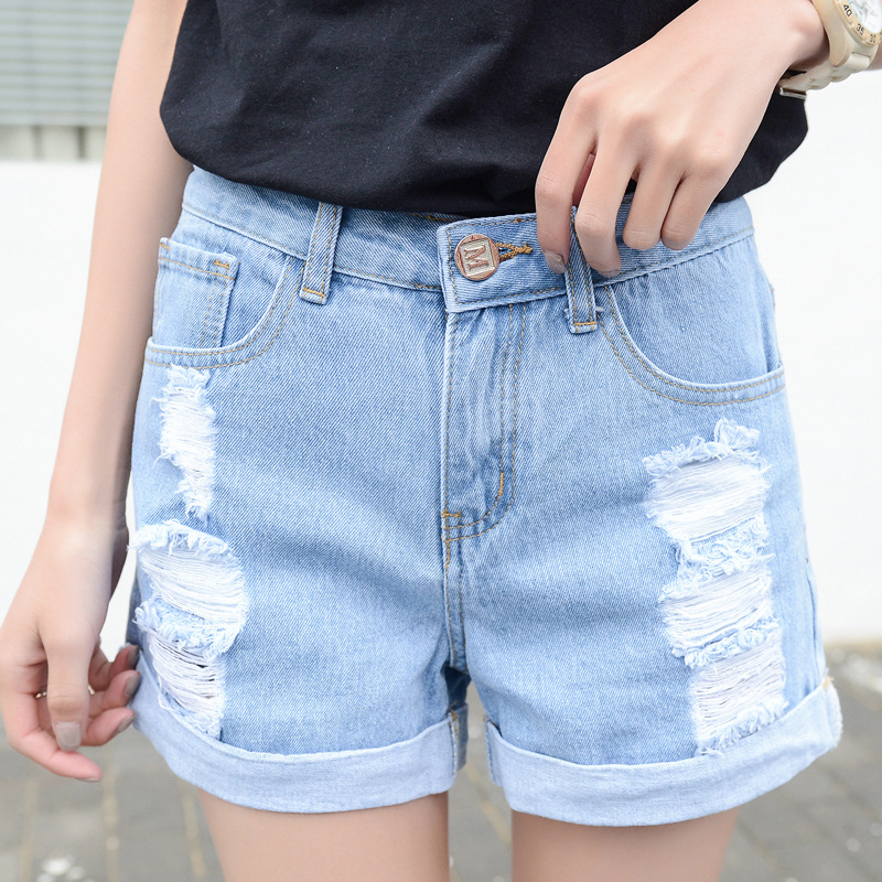 Spring Korean version denim   shorts   women new fashion broken holes Cat whisker show thin casual Straight   short   jeans T1007