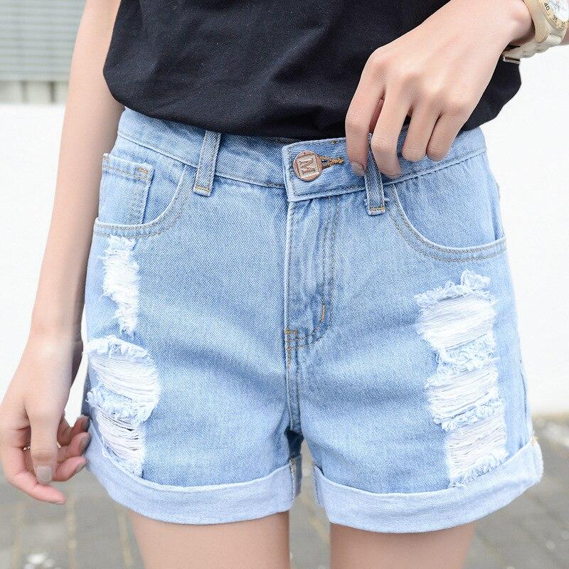 Spring Korean Version Denim Shorts Women New Fashion Broken Holes Cat Whisker Show Thin Casual Straight Short Jeans T1007
