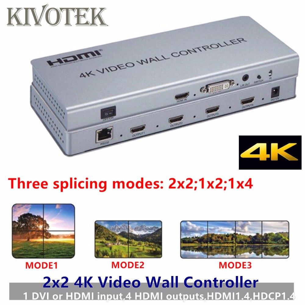 2x2 4 k HDMI DVI Video Wall Controller Adattatore a Muro per TV LCD Processore 4-HDMI + Connettore di Uscita Audio per HDTV Display di Trasporto libero