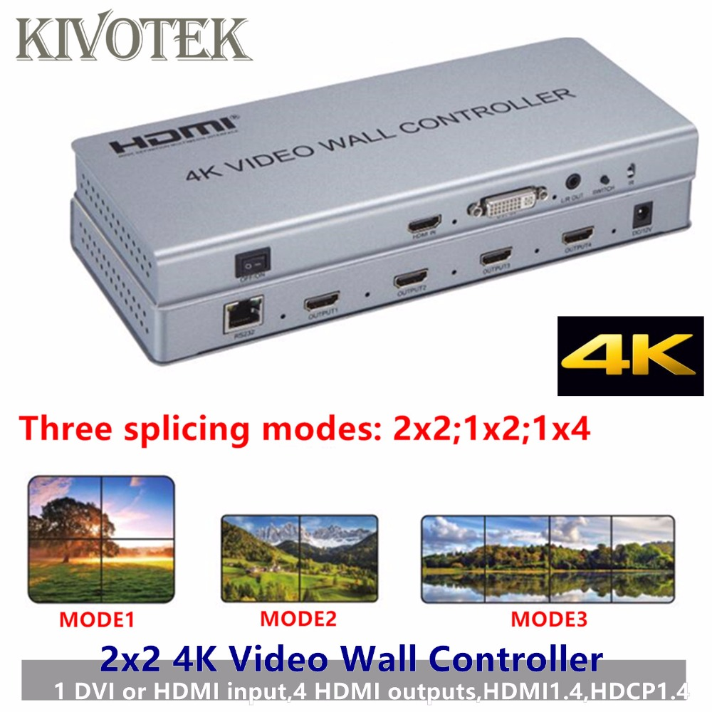 2x2 4K HDMI DVI Video Wall Controller Adapter LCD TV Wall Processor 4-HDMI+Audio Output Connector For HDTV Display Free Shipping free shipping led display controller led video processor usb video processor ams lvp613 compar vdwall lvp515 with audio output
