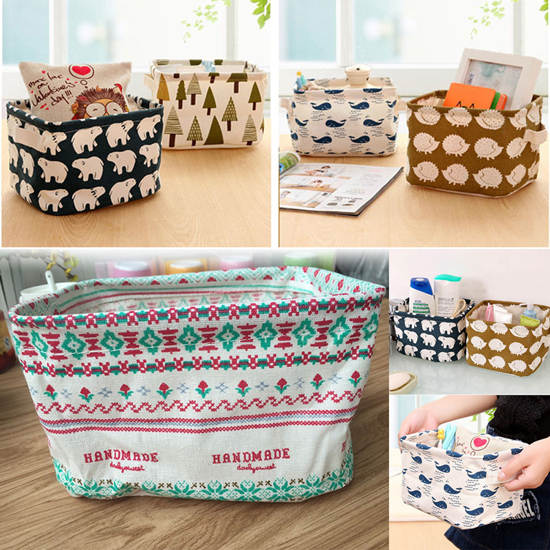 Linen Desk Storage Box Jewelry Cosmetic Holder Stationery Organizer Case Bag