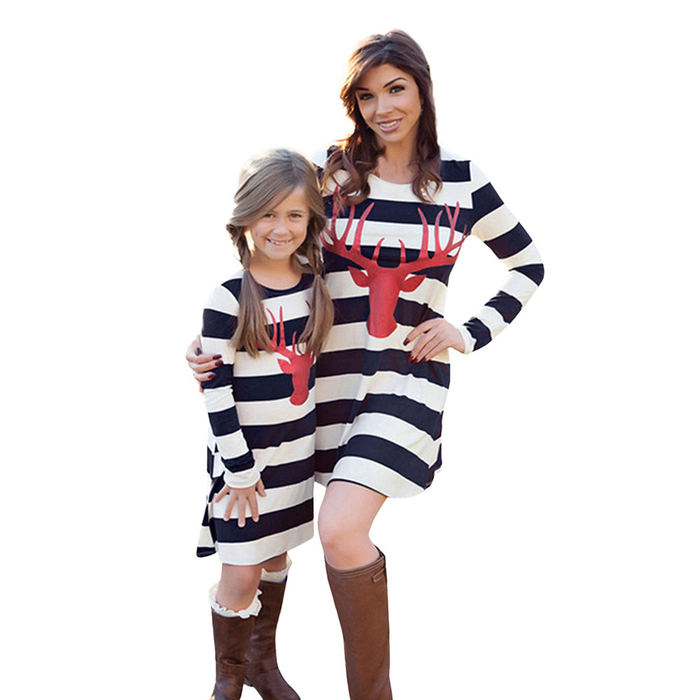 Christmas Mom Me Girls Women dress Fashion Christmas Deer prints Long Sleeve Stripe Mini ...