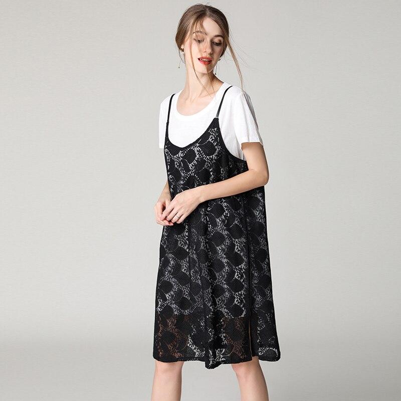 Sexy Lâche Blanc Oversize Femmes Taille Plus white D'été 4xl Noir Mode La Dentelle Marque Robes 2018 De Partie Robe Black Coton nwAaq8qPvW