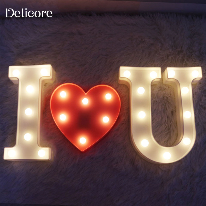DELICORE I LOVE U Letter LED Marquee Sign Night Light For Wedding Decor Alphabet Light Indoor Wall Decoration Light Up S109 metal bar led marquee sign light up vintage signs light bar indoor deration