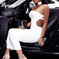 Bqueen 2017 Solid White Backless Strapless Halter Bandage Dress Mid-Calf Club Party Dresses