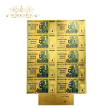 10pcs/lot Zimbabwe One Hundred Trillion Dollars Gold Banknote in 24k Plated With 99.9% metal Pure For Collection