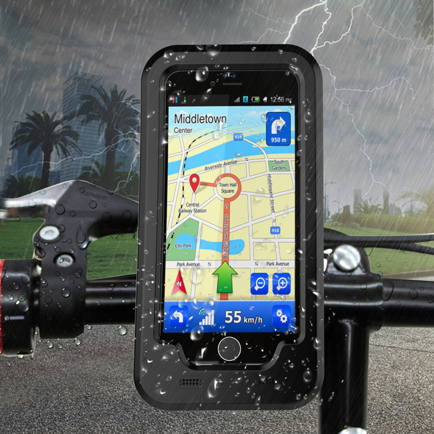 New Waterproof Bicycle Bike Phone Holder for iPhone 6 6s <font><b>Handlebar</b></font> Clip Stand Mount Bracket for iPhone 7 Shockproof Phone Case