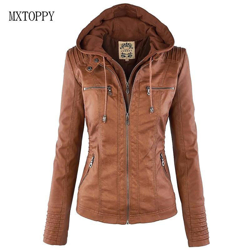 2018 Winter Women Faux Leather Jacket Long SleeveWomen Jackets Female Hat Removable Women Basic Coats Waterproof Windproof